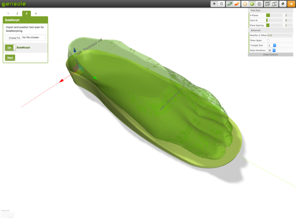 Solemorphed the upper last surface to the footscan model